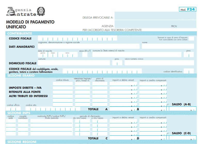 MODELLO F24 SEMPLIFICATO DA COMPILARE SCARICARE